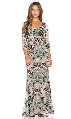 Cutout Boho Maxi Dress in Sketch Floral