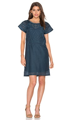 Cut Out Embroidery Dress in Petrol
