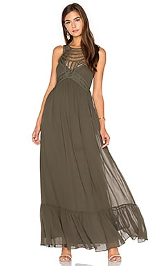 Front Embellishment Maxi Dress in Leaf