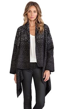 Twelfth Street By Cynthia Vincent Ikat Drape Sweater Jacket in Black