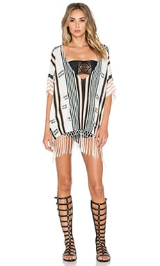 Twelfth Street By Cynthia Vincent Fringed Poncho in Grey