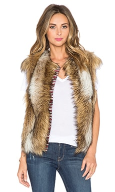 Cap Sleeve Faux Fur Vest in Tan