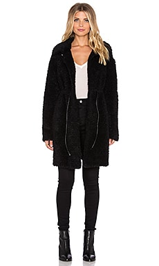 Twelfth Street By Cynthia Vincent Curly Faux Fur Coat in Black