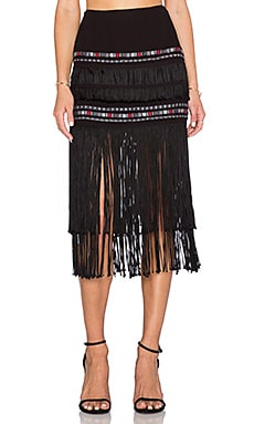 Twelfth Street By Cynthia Vincent Indian Midi Skirt in Black