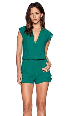 Twelfth Street By Cynthia Vincent Ruffle Flutter Romper in Emerald