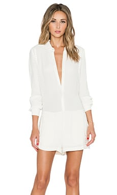 Twelfth Street By Cynthia Vincent Shirt Romper in Off White