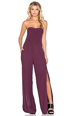 Twelfth Street By Cynthia Vincent Strapless Side Slit Jumpsuit in Mulberry