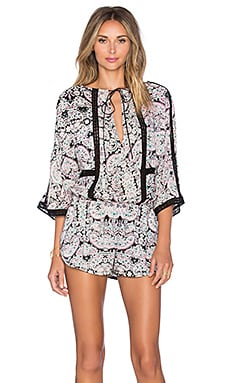 Twelfth Street By Cynthia Vincent Lace Inset Romper in Endora Paisley