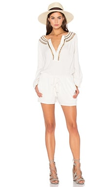 Twelfth Street By Cynthia Vincent Neck Detail Drawstring Romper in Natural