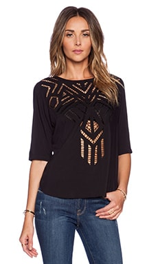 Twelfth Street By Cynthia Vincent Cut-Out Embroidered Tee in Black