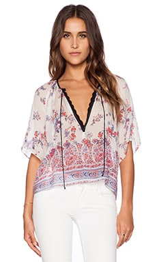 Twelfth Street By Cynthia Vincent Crop Peasant Top in Jackobean Print