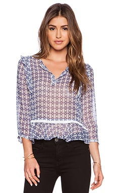 Twelfth Street By Cynthia Vincent Ruffle Blouse in Mini Shibori