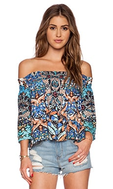 Twelfth Street By Cynthia Vincent Off the Shoulder Smocked Top in Batik Print