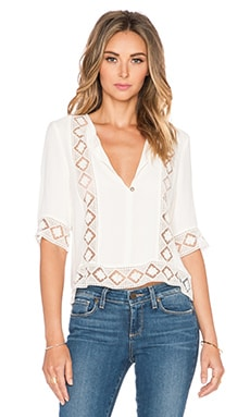 Twelfth Street By Cynthia Vincent Lace Inset Blouse in White