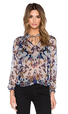 Twelfth Street By Cynthia Vincent Gypsy Blouse in Blue Pansey