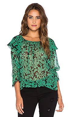Twelfth Street By Cynthia Vincent Ruffle Tie Blouse in Vintage Green Leaf