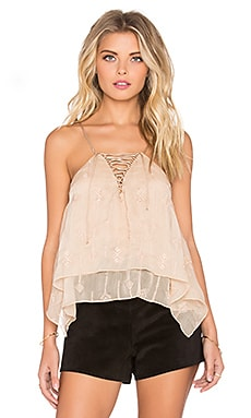 Twelfth Street By Cynthia Vincent Envelope Lace Up Cami in Almond