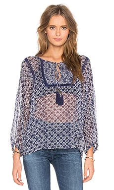 Tie Front Peasant Top in Ink Dot Print Color Indigo