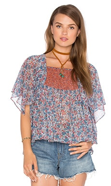 Printed Scarf Sleeve Top in Ditsy Print Ginger Multi