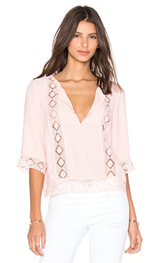 Twelfth Street By Cynthia Vincent Lace Inset Blouse in Peach