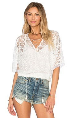 Geo Lace Blousant Top in White