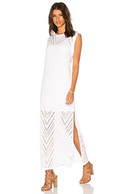 twenty Twist Perforated Maxi Dress in White