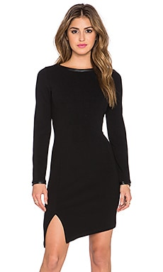twenty Vegan Leather Trim Mini Dress in Black