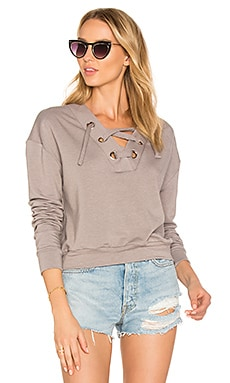 Superior Lace Up Sweater in Gray