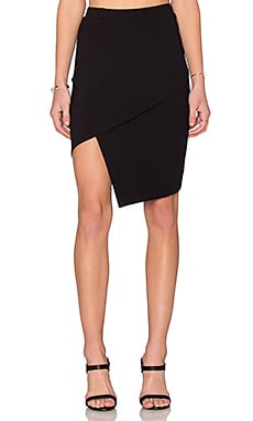 twenty Viscose Stretch Slit Skirt in Black