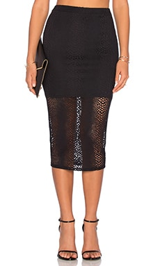 twenty Boa Crochet Midi Skirt in Black