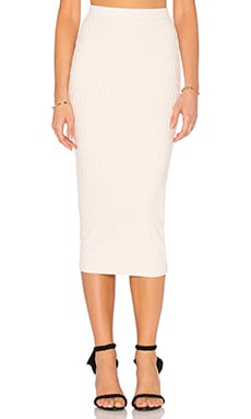 twenty Honeycomb Stretch Midi Skirt in Blush