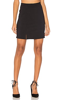 Double Slit Mini Skirt in Black