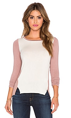twenty Colorblock Long Sleeve Top in Off White & Rose