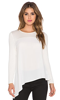 twenty Asymmetric Long Sleeve Top in Off White