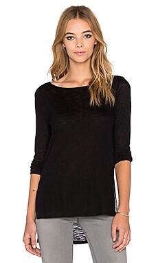 twenty High Slit Long Sleeve Top in Black
