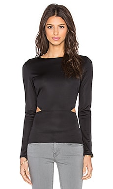twenty Cutout Long Sleeve Top in Black
