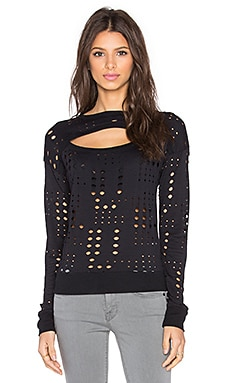 twenty Perforated Long Sleeve Top in Black
