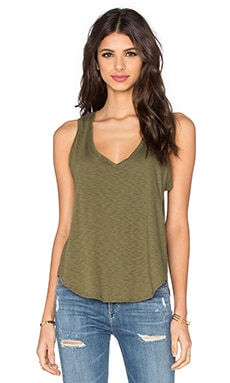 Cotton Slub Jersey Tank in Army