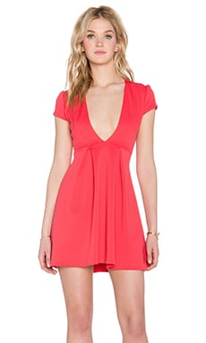 Twin Sister Plunge Skater Dress in Raspberry
