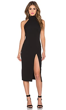 Twin Sister Racer Bodycon Dress with Split in Black