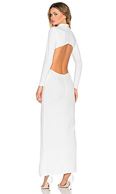 Twin Sister High Neck Longsleeve Maxi Dress in White