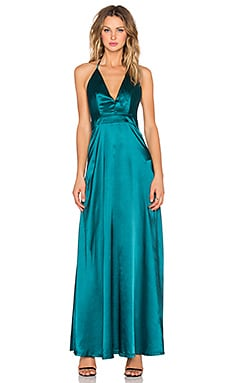 Twin Sister Satin Maxi Dress in Teal