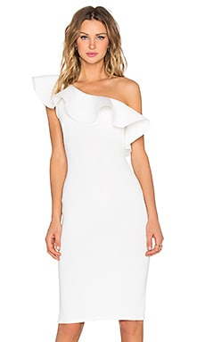 Twin Sister Frill Off the Shoulder Dress in White