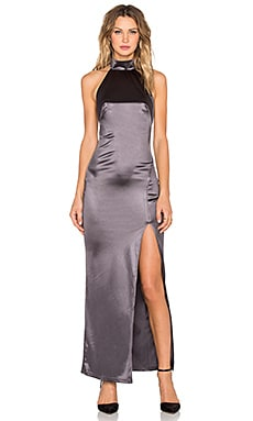 Twin Sister Satin Racer Maxi Dress in Grey