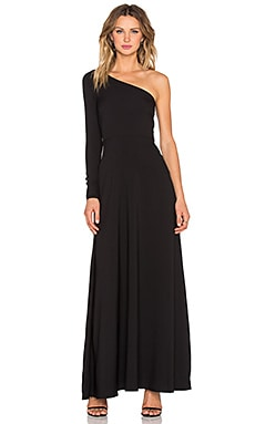 Twin Sister One Shoulder Maxi Dress in Black