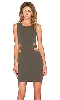 Twin Sister Circle Cut Out Mini Dress in Khaki