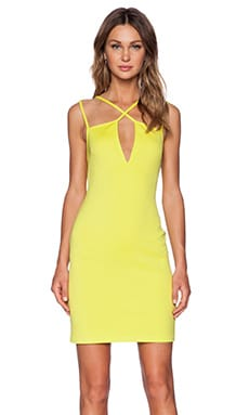 Twin Sister Cross Strap Bodycon Dress in Lime