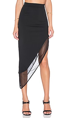 Twin Sister Mesh Asymmetric Skirt in Black
