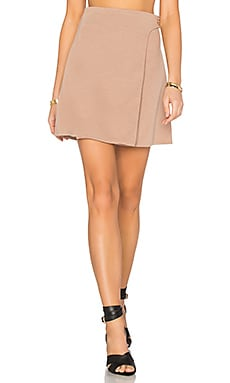 Button Wrap Mini Skirt in Nude