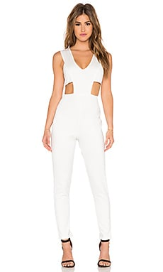 Twin Sister Plunge Front Jumpsuit in White